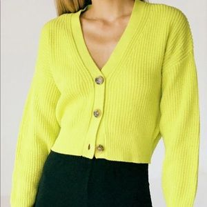 Urban Outfitters UO Kai Cropped Neon Cardigan S